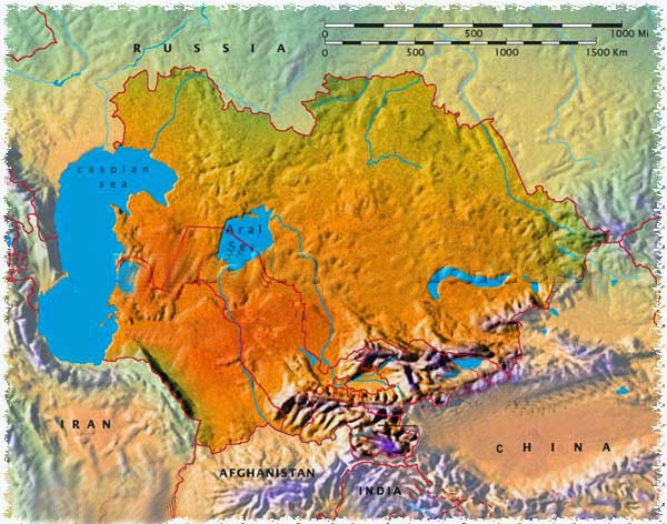 The View Into West Turkestan Asian Warrior - Turkmenistan physical map